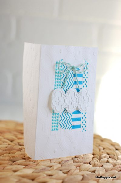 embossed handmade card with washi tape - NoBiggie.net