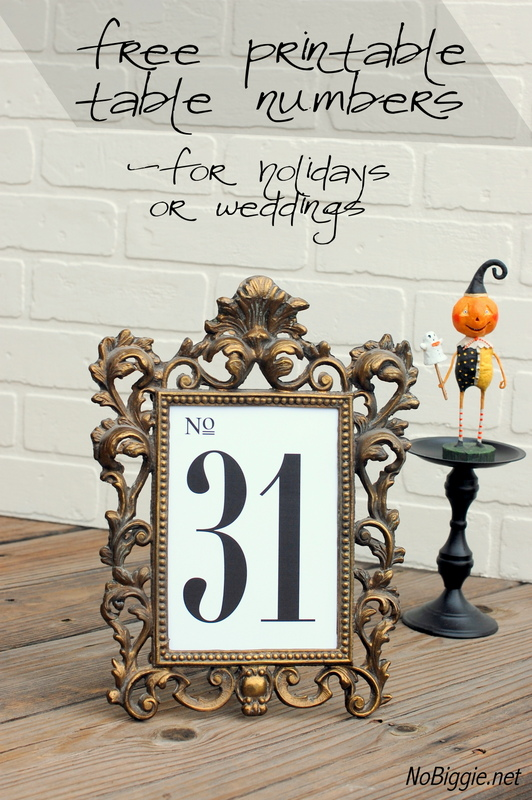 free printable fancy table numbers for weddings or holidays (1-31) | NoBiggie.net
