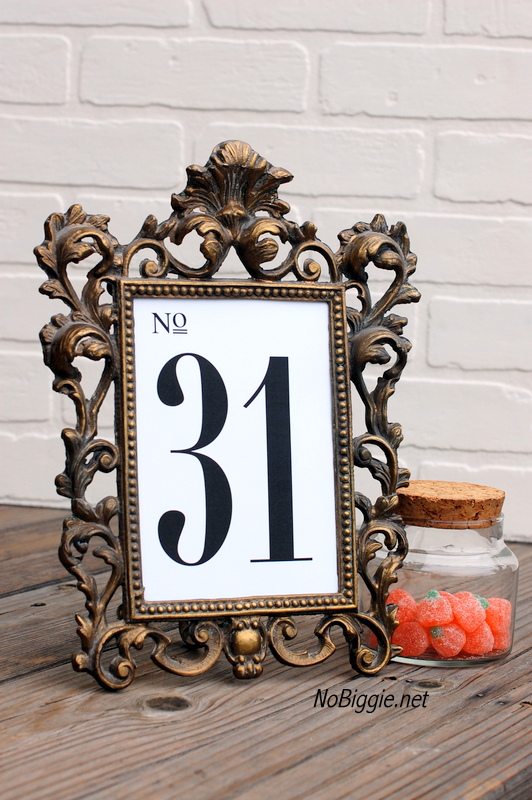 free printable table numbers for holidays and weddings (1-31) | NoBiggie.net