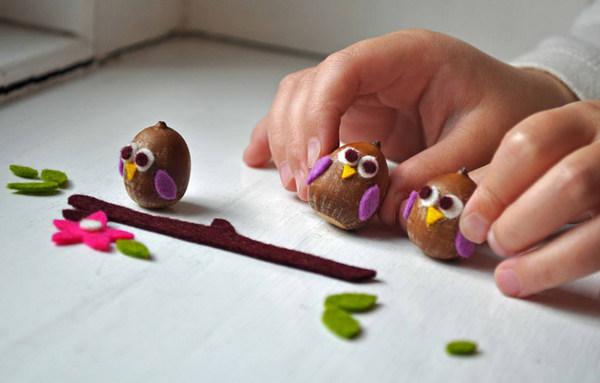 owl acorns - kid craft