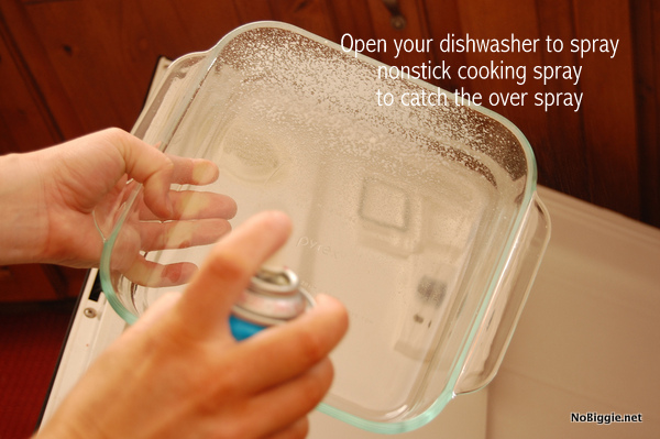 Open your dishwasher to catch the overspray of nonstick cooking spray - NoBiggie.net