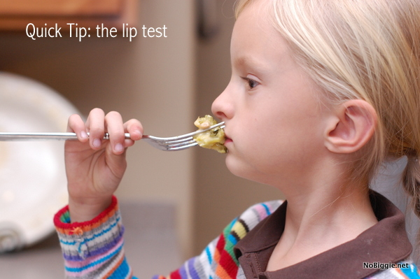 avoid a burnt tongue with the lip test - get more quick tips on NoBiggie.net