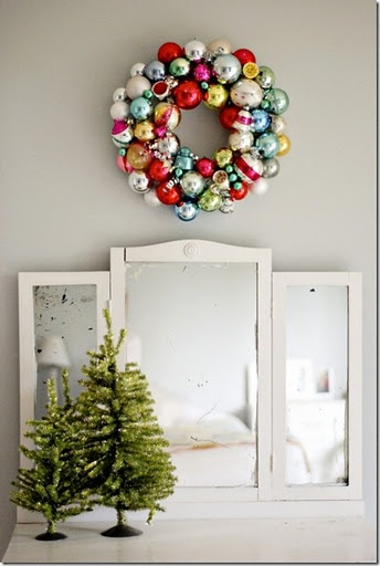 vintage glass ornament wreath