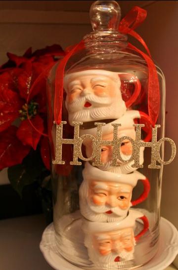 vintage santa mugs under cloche for festive Christmas decor