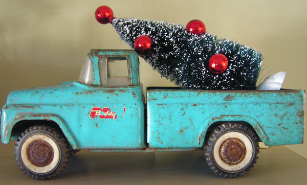 Vintage Toy Truck with Christmas bottle brush tree