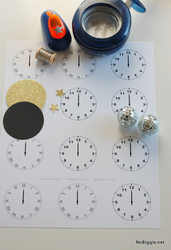 Celebrate New Year's Eve with this free printable - midnight clocks - via NoBiggie.net