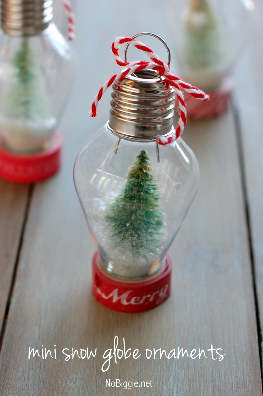 diy mini snow globe ornament - Christmas Bulb Decorations