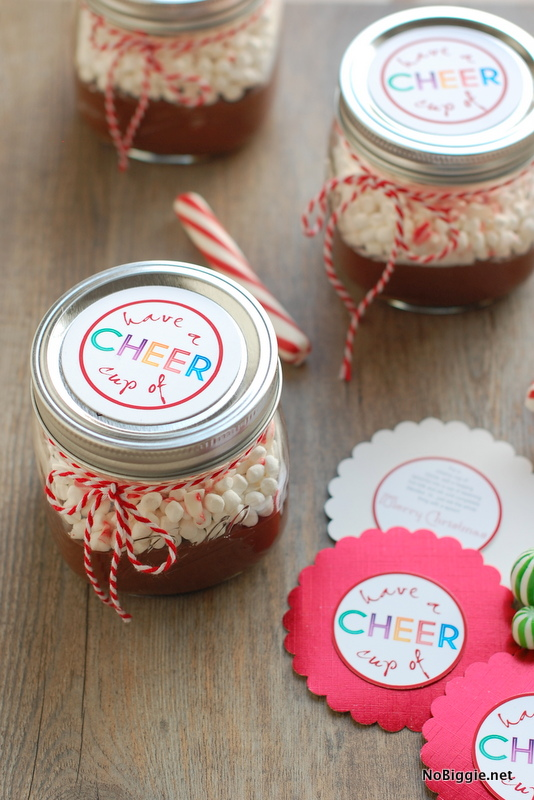 Hot chocolate in a jar with a free gift tag - fun neighbor gift!  - NoBiggie.net
