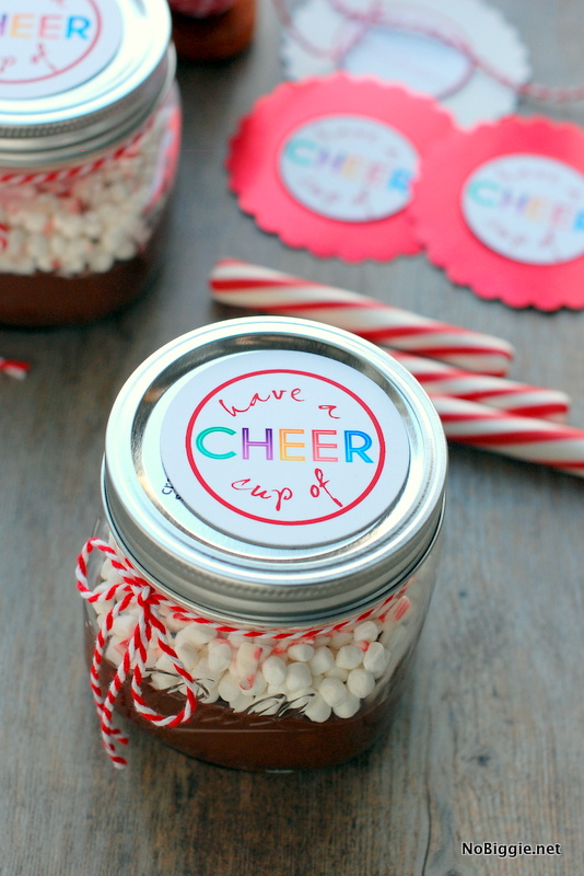 Hot chocolate in a jar with a free printable- fun neighbor gift! | NoBiggie.net