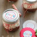 Hot chocolate in a jar with a free printable tag - fun neighbor gift! | NoBiggie.net