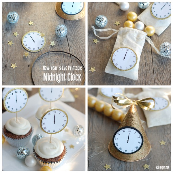 New Year's Eve Midnight Clock | printable | NoBiggie.net