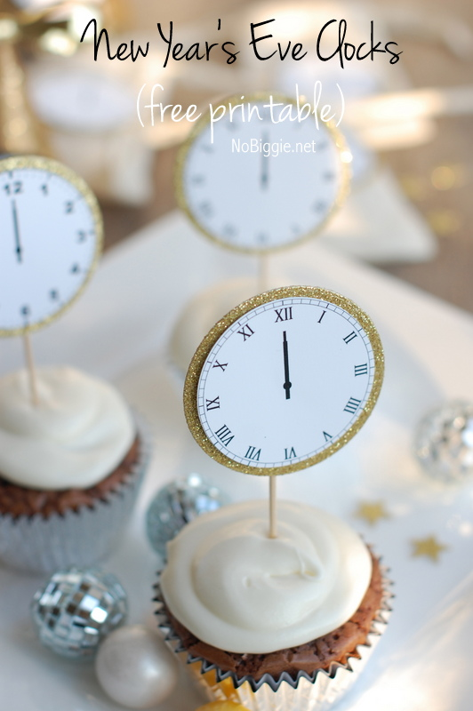 midnight clocks cupcake toppers to Celebrate New Year's Eve | NoBiggie.net