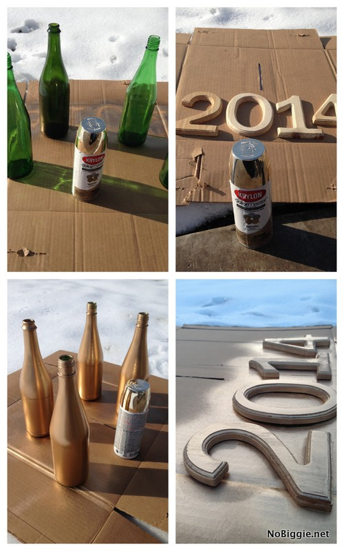 spray with gold spray paint - empty glass bottle and wooden numbers - NoBiggie.net