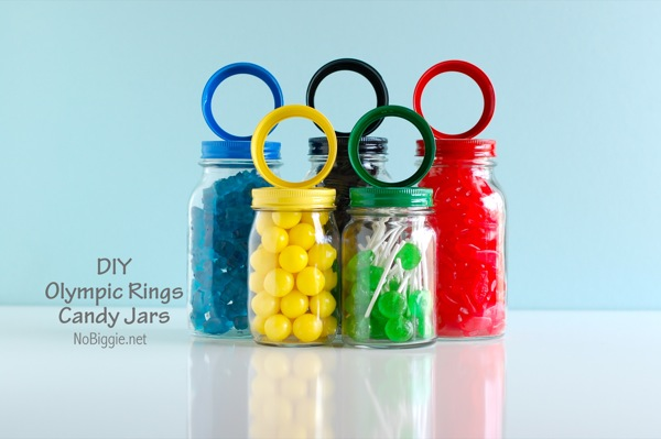 Olympic candy jars | 20+ kid friendly Olympic Ideas | NoBiggie.net