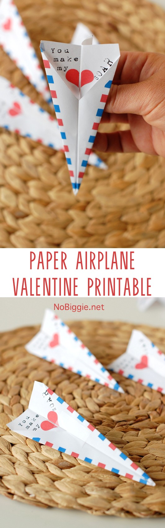Paper airplane Valentine Printable is a cute way to send that special someone a Valentine. #papercrafts #paperairplanes #valentinesday #printable #freeprintable