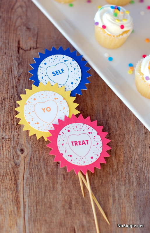 Treat Yo Self cupcake toppers | get the printable on NoBiggie.net