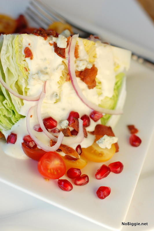 try it - a classic wedge with a twist - pomegranate seeds - get the recipe on NoBiggie.net