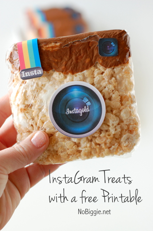 Instagram Rice Krispie Treats with a free printable via NoBiggie.net