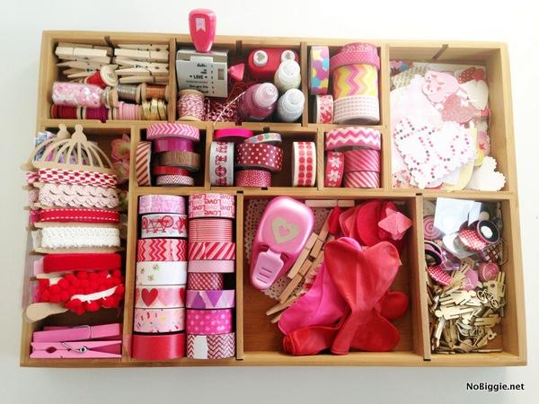 Valentine's Day craft station for making Valentines - NoBiggie.net