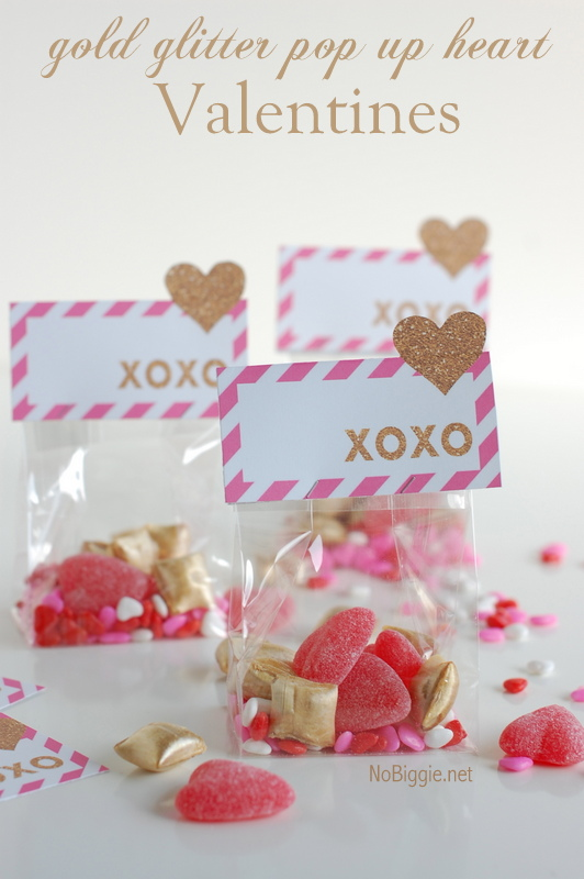 gold glitter pop up heart Valentines - a free printable | NoBiggie.net