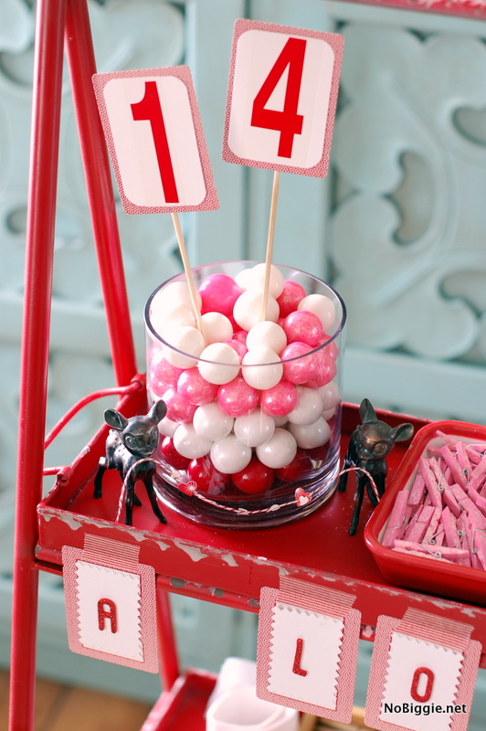 gumball decor for a Valentine's Day crafternoon - NoBiggie.net