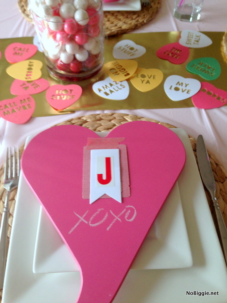 place settings for a Valentine's Day crafternoon - NoBiggie.net