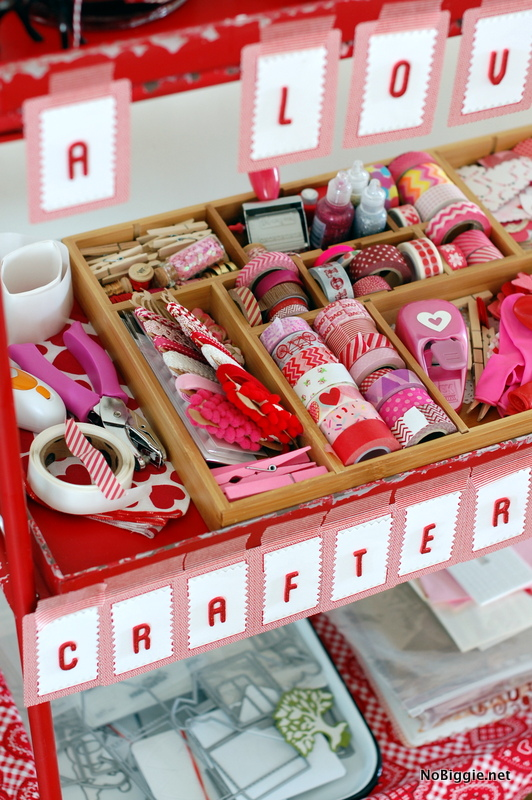 the Valentine's Day craft cart fully stocked - NoBiggie.net