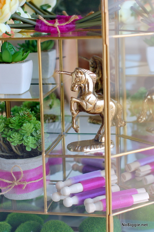 brass unicorn vintage curio case