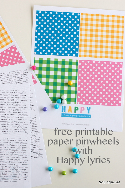 free pinwheel printable with the lyrics to HAPPY - NoBiggie.net