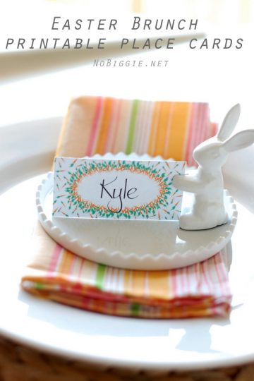 Easter Brunch place cards and banner (free printable)
