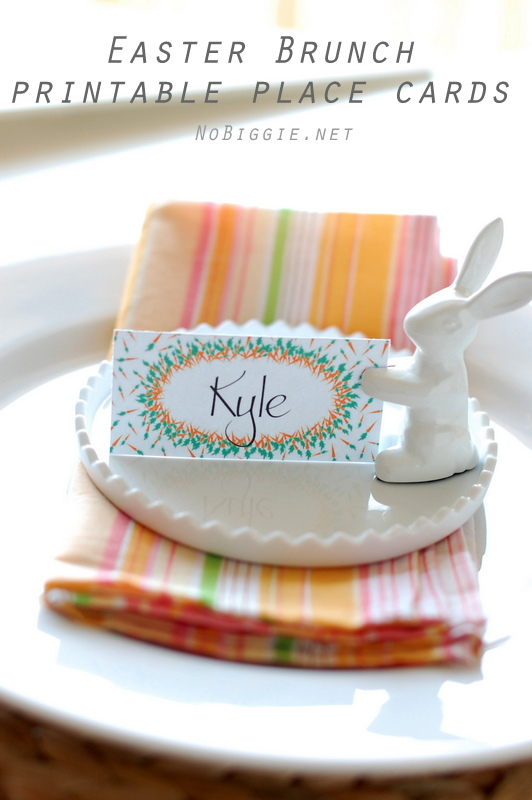 Easter Brunch printable placecards | NoBiggie.net