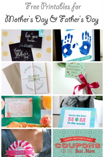 Free Printables for Mother's Day & Father's Day