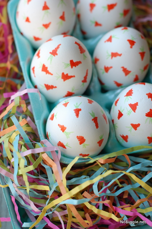 Carrot Confetti Eggs are a cute way to decorate your Easter eggs using puff paints. #eggs #eastereggs #eggdecorating #carrotconfetti #easter