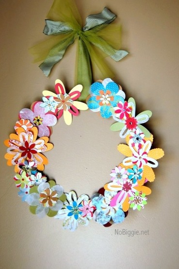 paper flower wreath for Spring NoBiggie.net