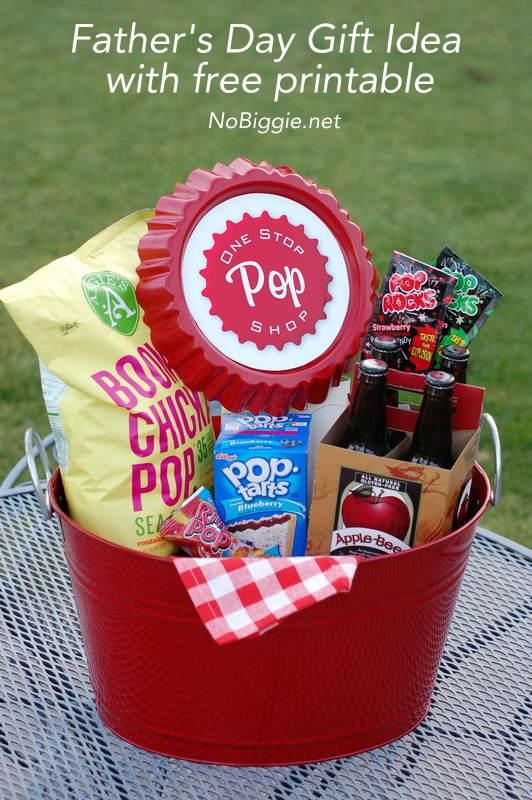 Father's Day gift idea: one stop pop shop - a cute gift basket idea for your favorite pop. #fathersday #giftideas #giftbaskets #fathersdaygifts