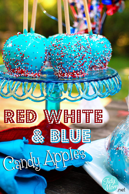 Red White and Blue Candy Apples | 25+ 4th of July Party ideas