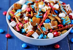 Red White and Blue Chex Mix | 25+ Patriotic Treats