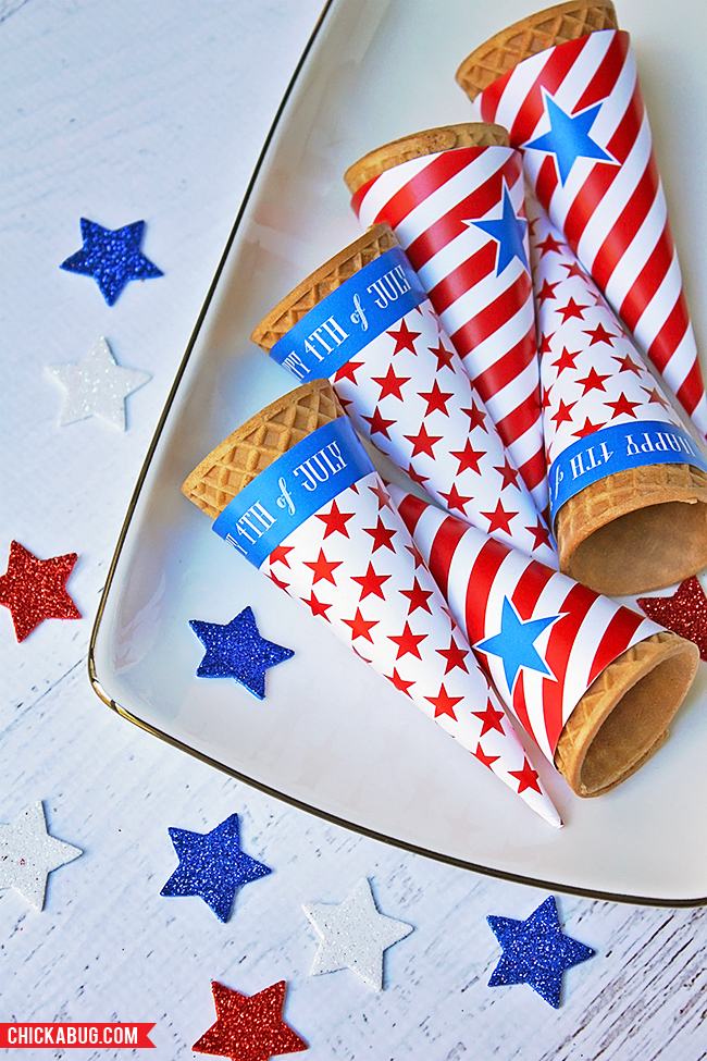 free printable ice cream cone wrappers | 25+ 4th of July Party ideas