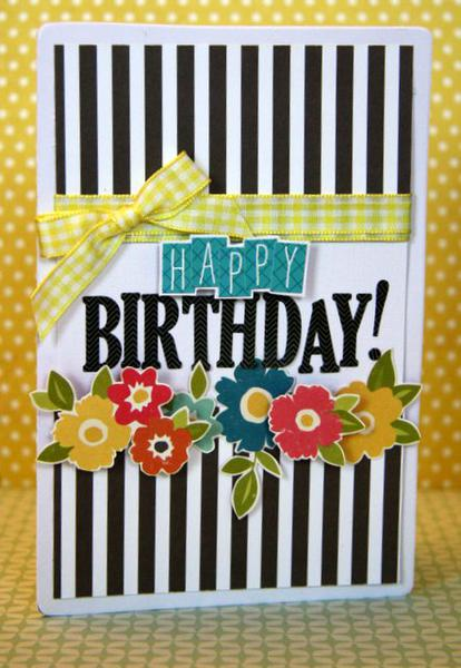 Black and White Stripes Happy Birthday Card | 25+ Handmade Cards