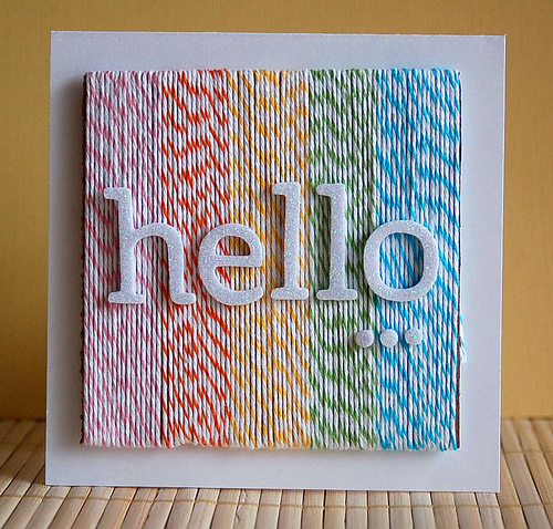 Colored Twine Hello Card | 25+ Handmade Cards