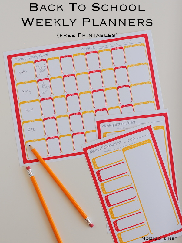 Back to School weekly planners (free printables) | NoBiggie.net