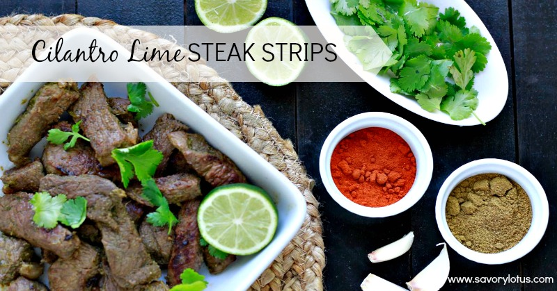 Cilantro Lime Steak Strips | 25+ gluten and dairy free recipes
