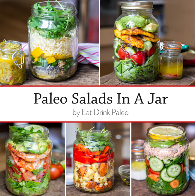 Paleo Salad in a Jar | 25+ gluten free and dairy free lunch ideas