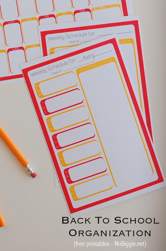 Personalized weekly planners (free printables for back to school organization) | NoBiggie.net