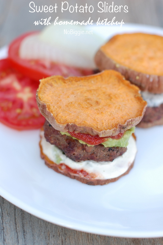 Sweet Potato Sliders with homemade ketchup | NoBiggie.net