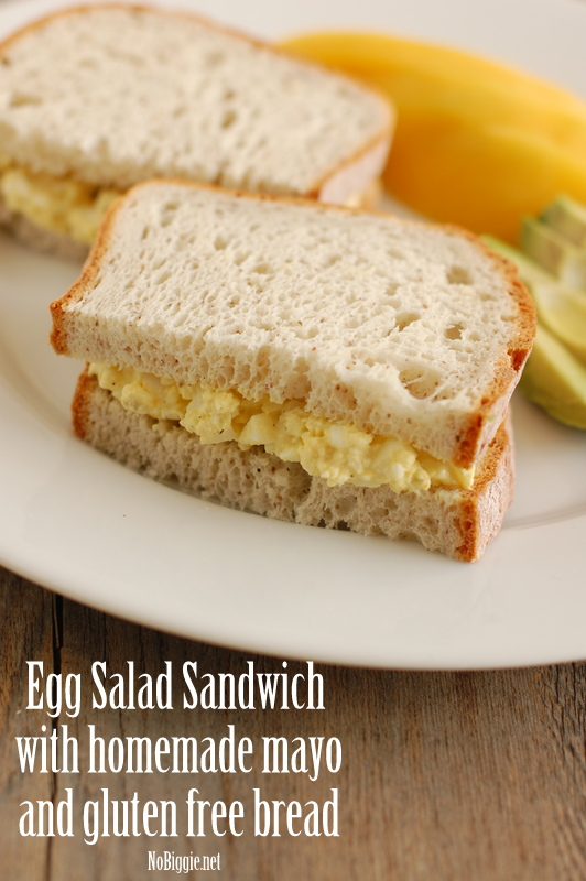 egg salad sandwich with homemade mayo on gluten free bread | NoBiggie.net