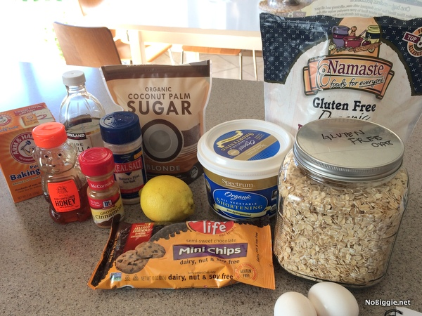 all the ingredients for soft gluten free and dairy free oatmeal chocolate chip cookies | NoBiggie.net