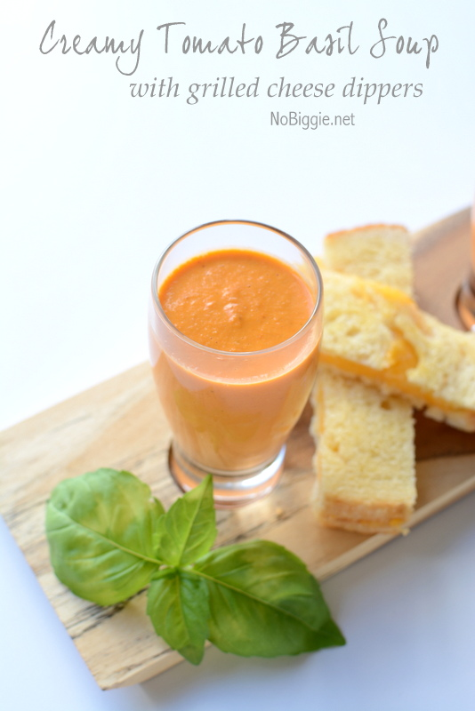 Creamy Tomato Basil Soup with grilled cheese dippers | Get the recipe on NoBiggie.net