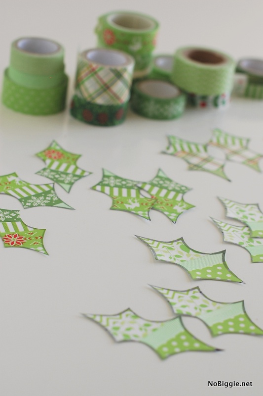 Washi Tape Holly Berry Leaves for the Christmas Wreath | NoBiggie.net