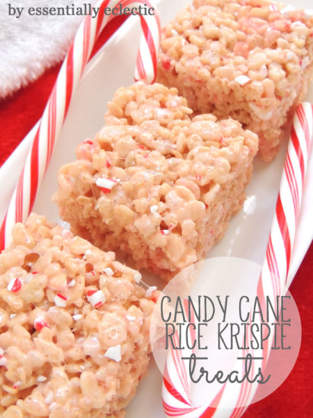 Candy cane rice krispie treats | 25+ peppermint recipes